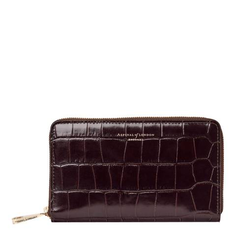 Aspinal of London Amazon Brown Croc Continental Midi Wallet