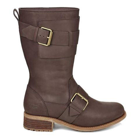 UGG Brown Chancey Biker Boots
