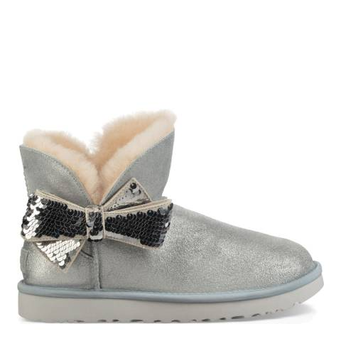 UGG Silver Mini Sequin Classic Bow Boot