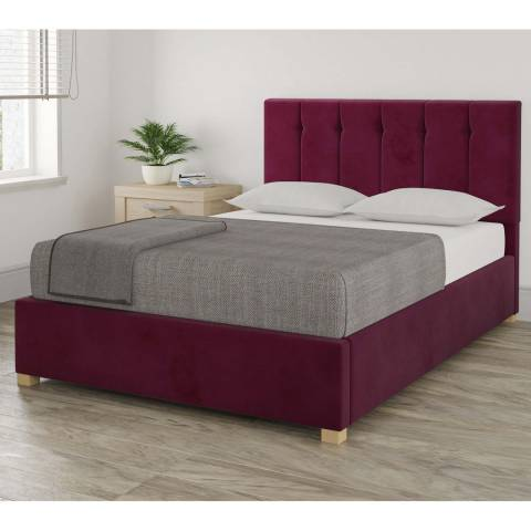 Aspire Furniture Pimlico King Bedframe - Plush Velvet Berry