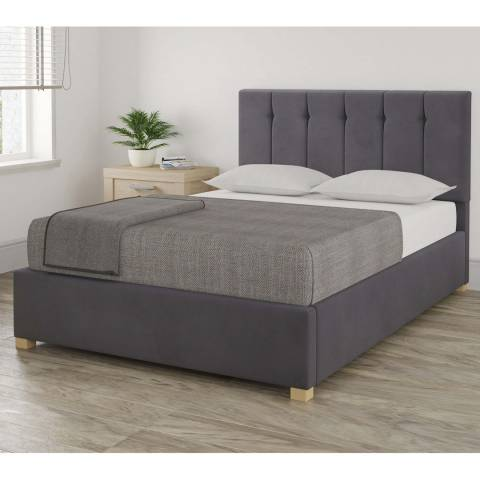 Aspire Furniture Pimlico Steel King Plush Velvet Ottoman Bed