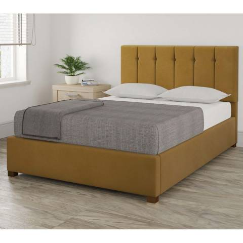 Aspire Furniture Pimlico Ochre Double Plush Velvet Ottoman Bed