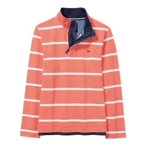 Crew Clothing Papaya Orange/White Padstow Pique Sweatshirt