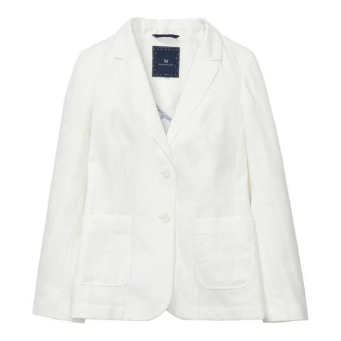 Crew Clothing White Linen Loweswater Blazer