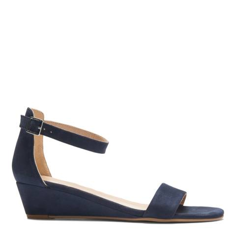 Crew Clothing Navy Suede Wedge Sandal