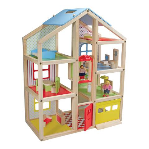 Melissa and Doug Wooden Hi Rise Dollhouse And Furniture Set