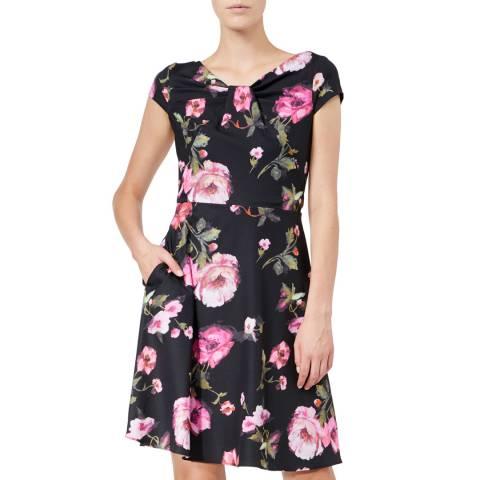 Adrianna Papell Black/Multi Autumn Rose Draped Dress
