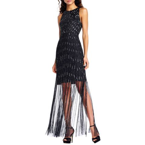Adrianna Papell Black/Mercury Beaded Long Dress