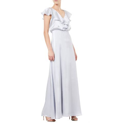 Adrianna Papell Silver Hammered Satin Dress