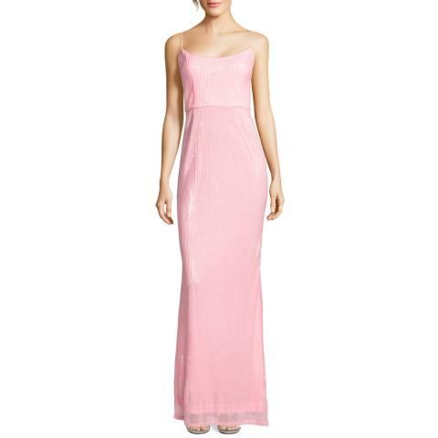 Adrianna Papell Satin Blush Pleated Sequin Dress