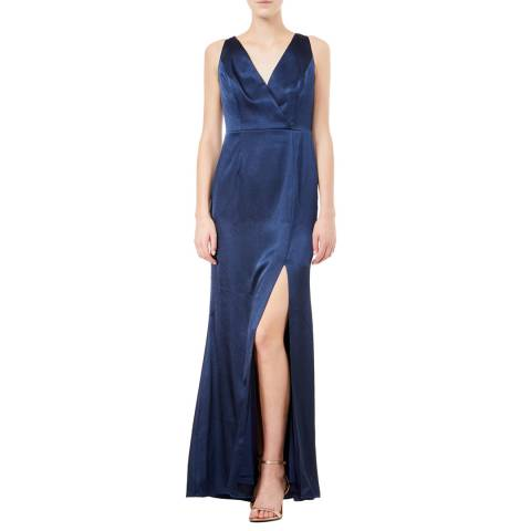 Adrianna Papell Midnight Hammered Satin Dress