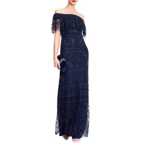 Adrianna Papell Navy Off The Shoulder Beaded Gown