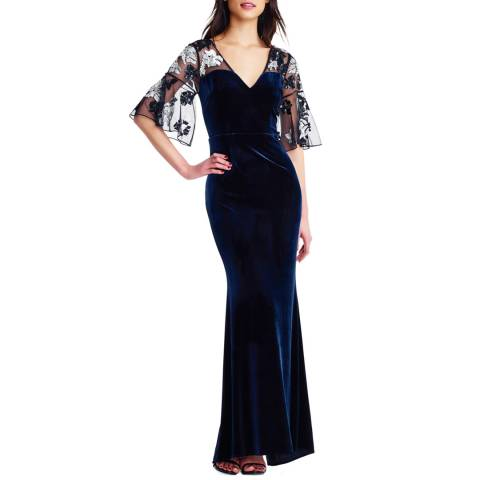 Aidan Mattox Twilight Beaded Velvet Gown