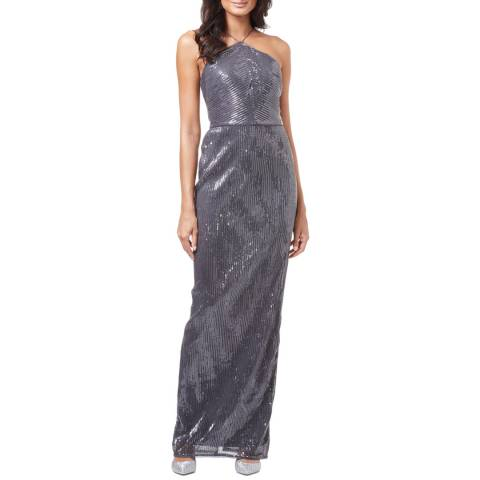 Adrianna Papell Gunmetal Pleated Sequin Dress