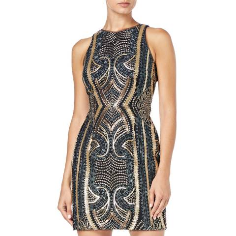 Aidan Mattox Gold/Multi Embroidered Sequin Dress