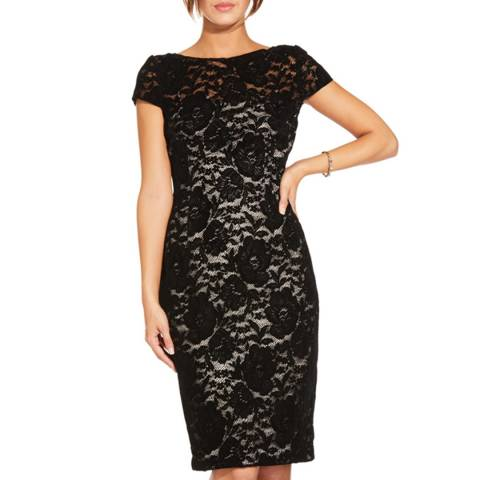 Adrianna Papell Black Nude Short Velvet Dress