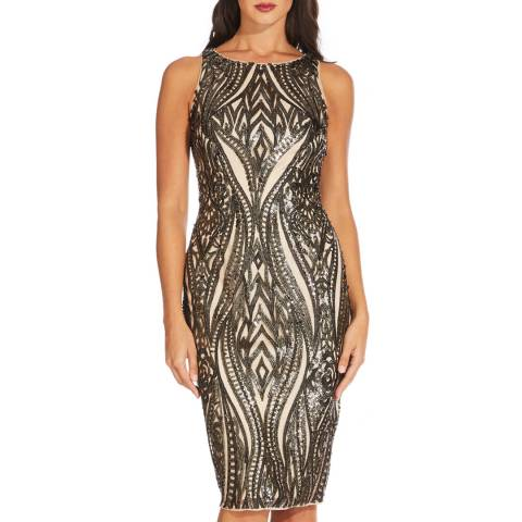 Adrianna Papell Black/Champagne Halter Neck Dress