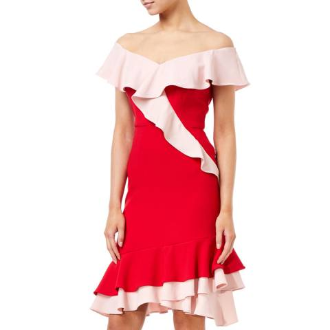 Aidan Mattox Red Flounce Crepe Cocktail Dress