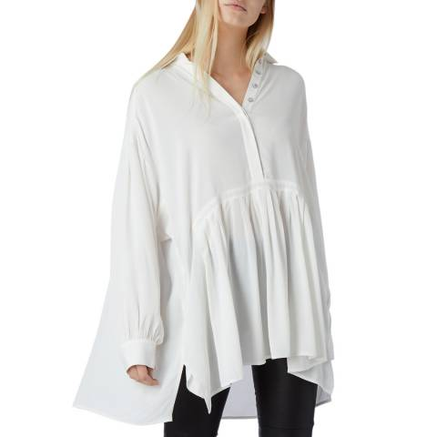 N°· Eleven White Drop Waist Ruched Tunic