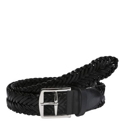 Laycuna London Men's Black Leather Plaited Belt