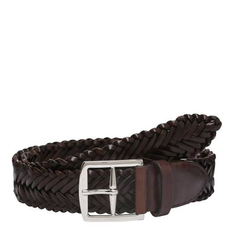 Laycuna London Men's Dark Tan Leather Plaited Belt