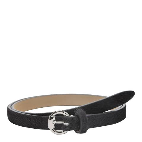 Laycuna London Women's Skinny Leather Charcoal Belt