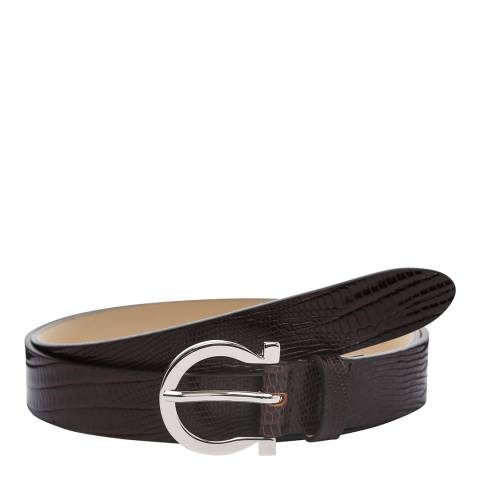 Laycuna London Women's Brown Croc Leather Belt