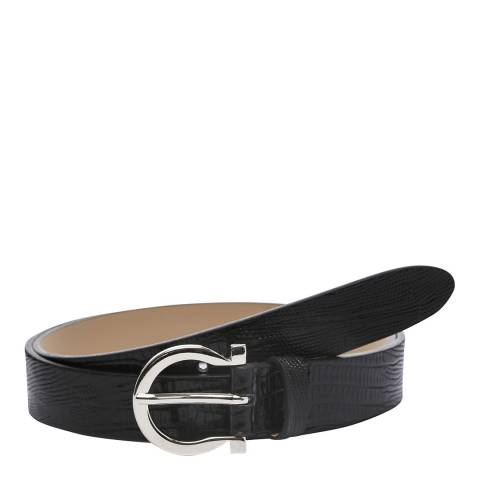 Laycuna London Women's Black Croc Leather Belt
