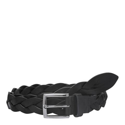 Laycuna London Women's Black Plaited Leather Belt