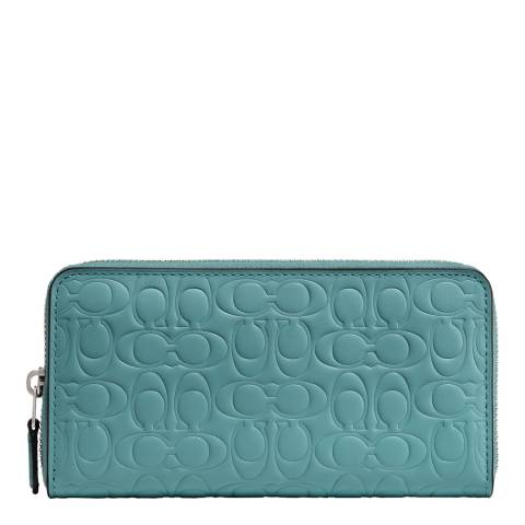 Coach Marine Blue Accordion Zip Wallet