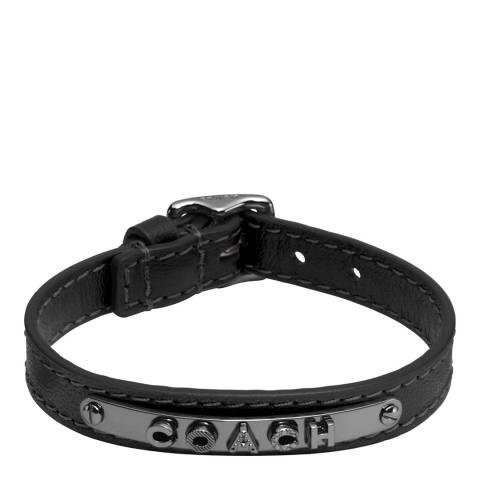 Coach Black Leather Buckle Plaque Bracelet