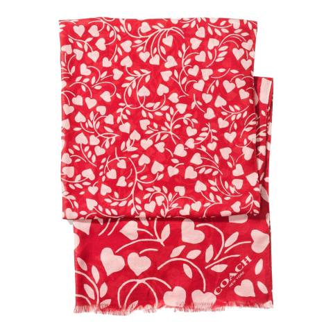 Coach Red Heart Print Oblong Scarf