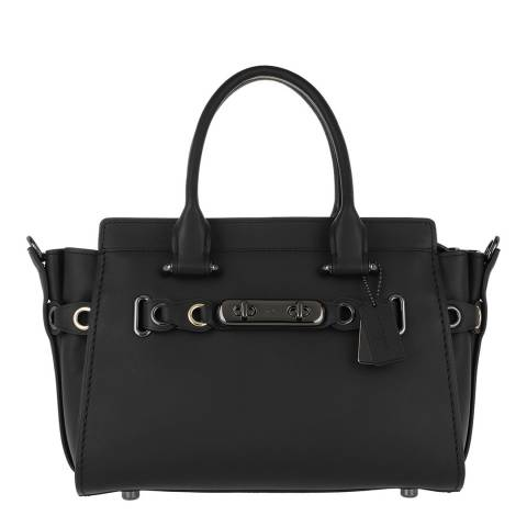 Coach Matte Black Eyelet Detail Swagger 27 Bag