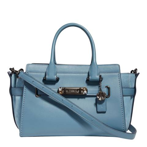 Coach Blue Floral Hardware Swagger 27 Bag