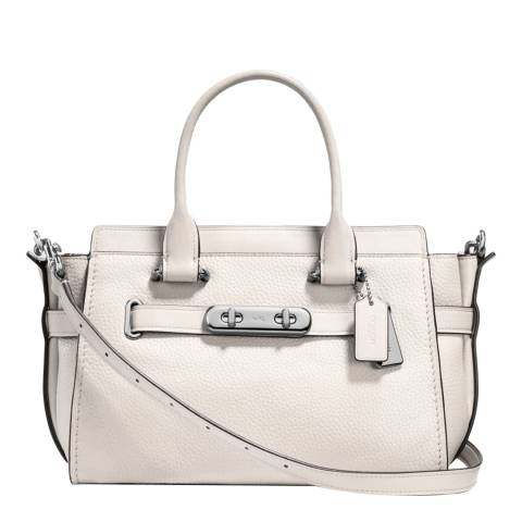 Coach White Pebble Leather Swagger 27 Bag