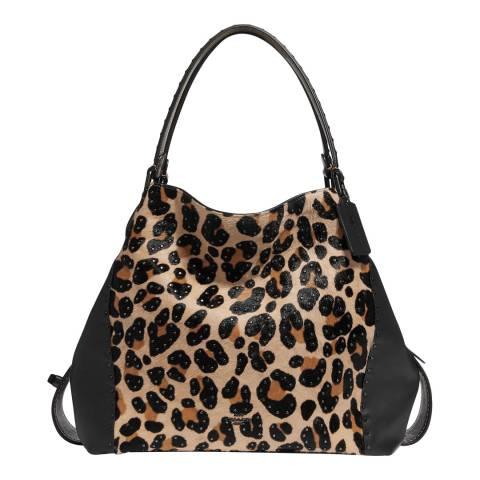 Coach Leopard Print Studded Edie 42 Shoulder Bag