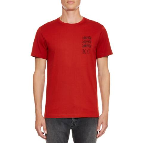 Kent & Curwen Red Classic 3 Lions Stamp T-Shirt