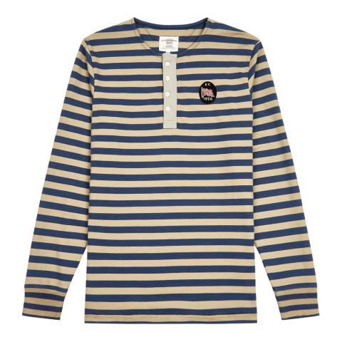 Kent & Curwen Blue Bartley Striped Henley Top