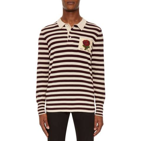 Kent & Curwen Cream/Burgundy Jagger Rugby Sweater