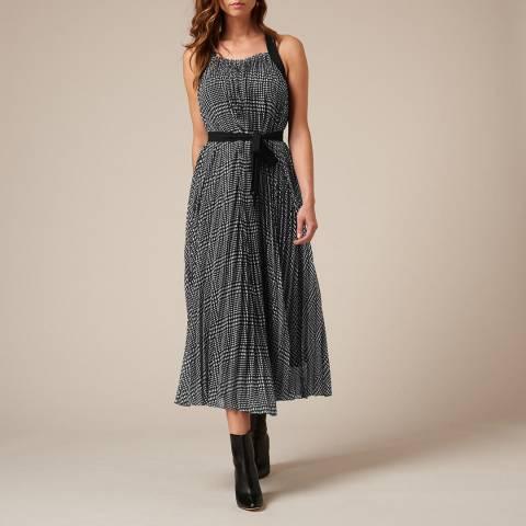 L K Bennett Black/White Pleated Dori Dress