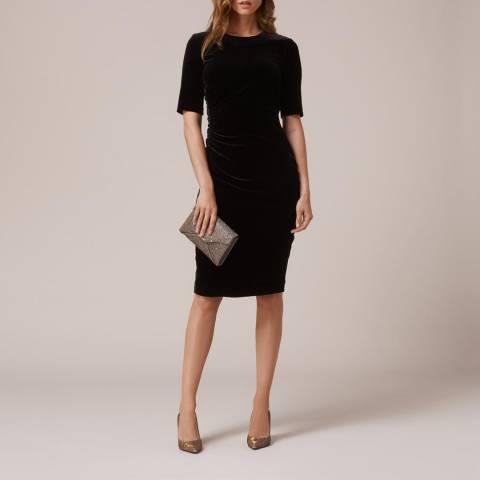 L K Bennett Black Velvet Body Con Kara Dress