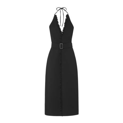 L K Bennett Black Ruffled Miriam Dress