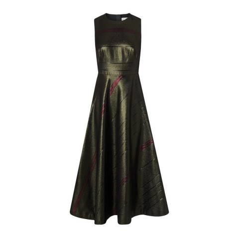L K Bennett Multi/Khaki Lurex Stripe Polly Dress