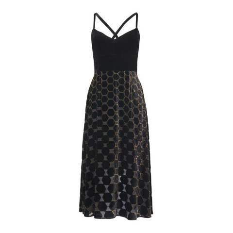 L K Bennett Black/Gold Strappy Velvet Poppy Dress