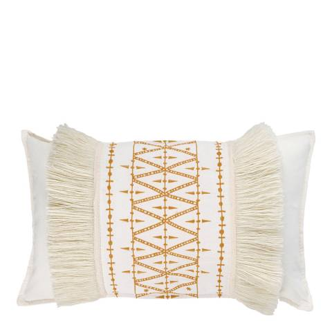 Febronie Embroidered Fringe 30x50cm Cushion Cover, Mustard