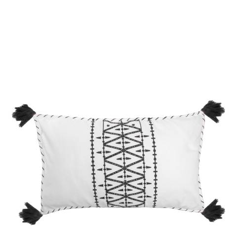 Febronie Embroidery 30x50cm Cushion Cover, Black