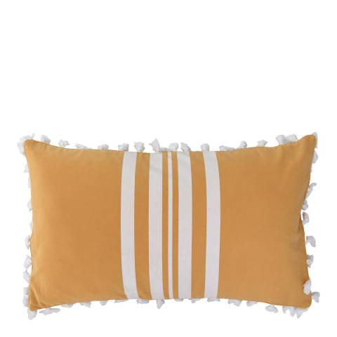Febronie Stripe Pom Pom 30x50cm Cushion Cover, Mustard/White