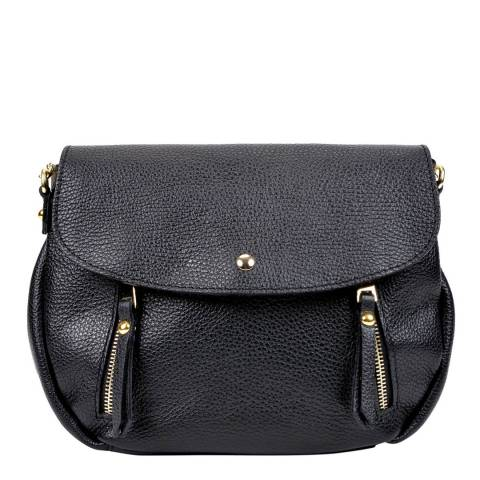 Sofia Cardoni Black Zip Detail Flap Over Handbag