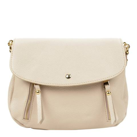 Sofia Cardoni Beige Zip Detail Leather Handbag