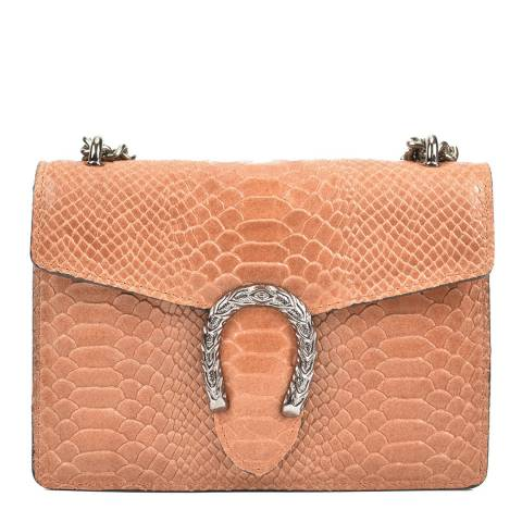Renata Corsi Peach Horseshoe Detail Leather Bag